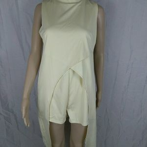 Pants - Women Pastel Yellow Romper Tied up Size L